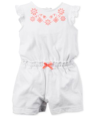 Carter's Baby Girls' Ivory & Embroidery Romper