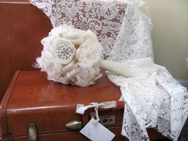 Bridal Bouquet Rhinestones Pearls and Burlap Package- Bouquet and Matching Boutonniere