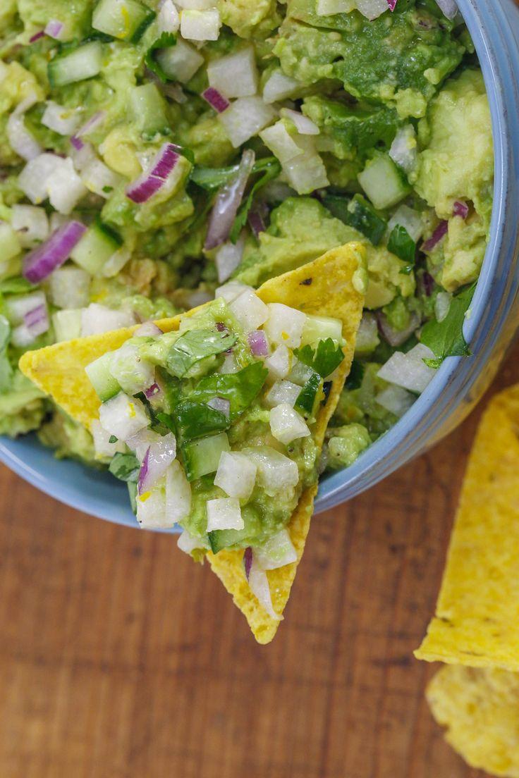Bobby Flay's Mesa Grill-style avocado relish and jicama-cucumber salsa