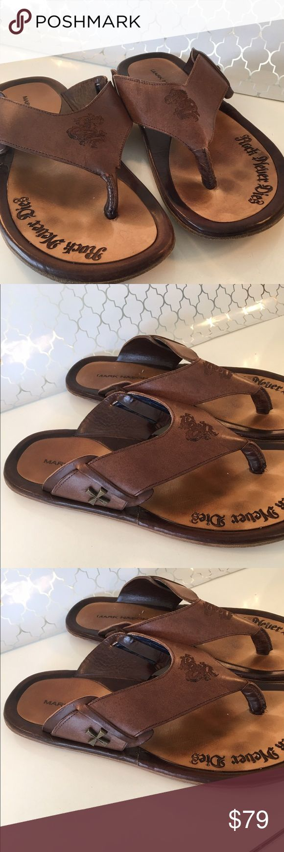⭐️MARK NASON DRAGON MENS SANDALS 💯AUTHENTIC MARK NASON MENS DRAGON SANDALS MADE IN ITALY 100% AUTHENTIC. TRUE HIGH END QUALITY AND STYLE. AMAZING SHOES. They are a size 10 MARK NASON Shoes Sandals & Flip-Flops