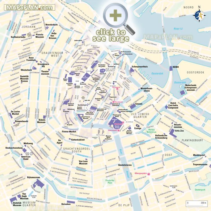 Centrum Where to go what to see major historic points of interest Amsterdam top tourist attractions map