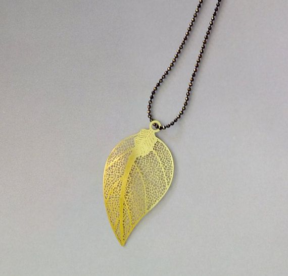 Gold long necklace Gold filigree leaf black & gold by iamatique
