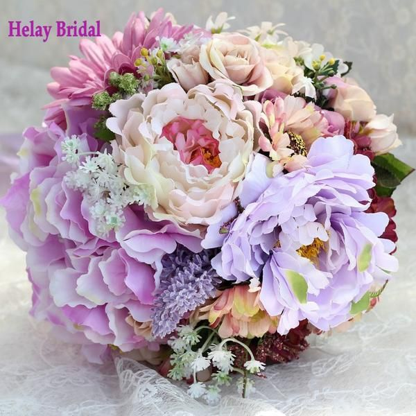 Lilacs maroon and Purple Wedding Bouquet with Ribbon