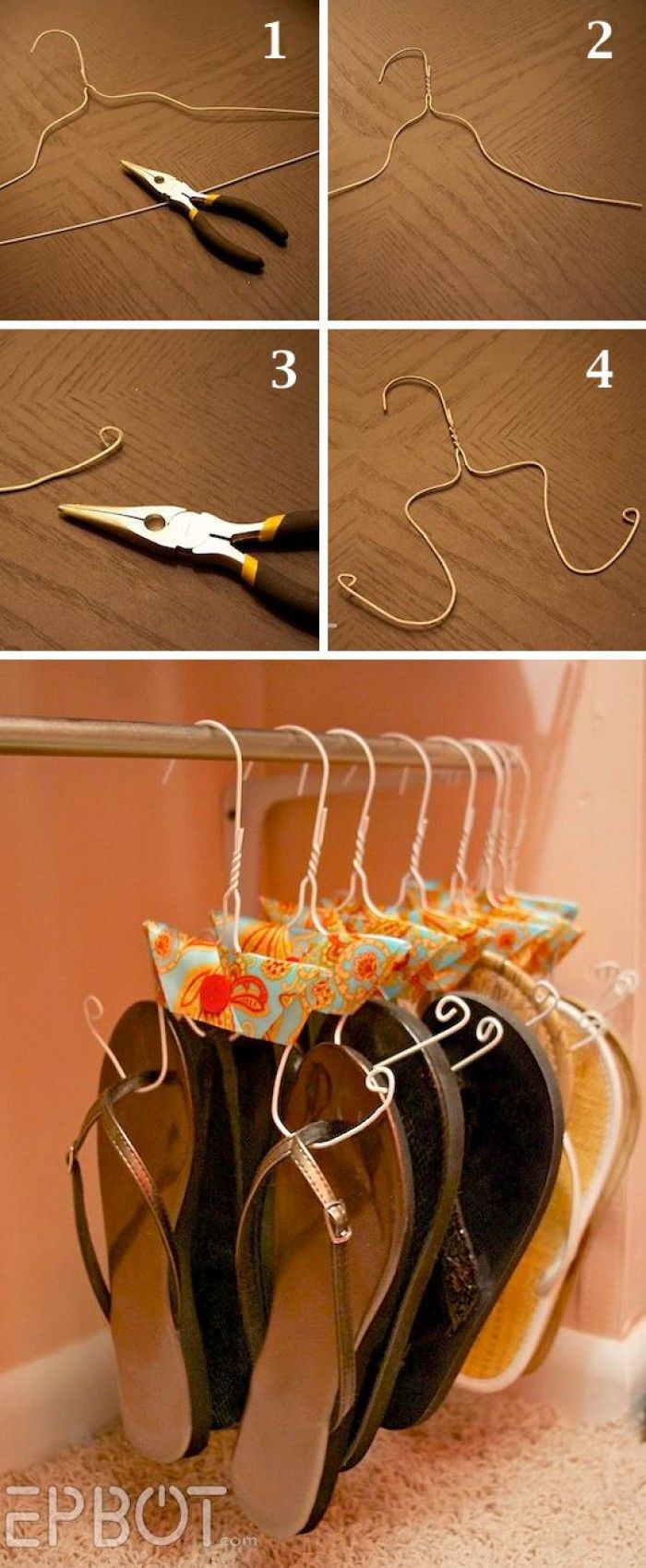 Ideale Lösung für meine Schuhsammlung. Alte Drahtbügel umfunktionieren damit man Flip Flops und Sandalen dran aufhängen kann