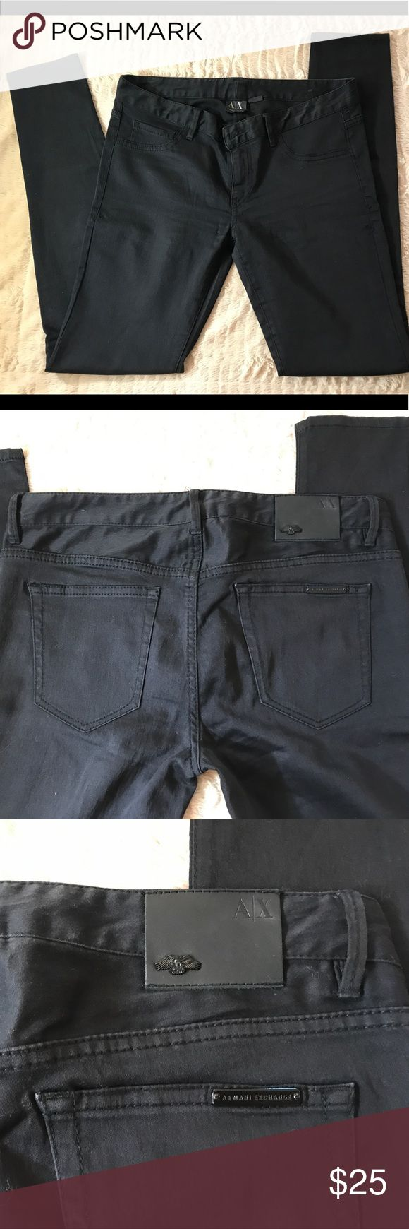 Armani Exchange Leggings👖 (jeans kind) Size 6 Modern and really comfy , used once Armani Exchange Pants. I used them for my Birthday party . Excellent condition. No flaws . Size 6 (fits a size 25/26) I usually use size 26 and these fit great on me :) feel free to make any offers A/X Armani Exchange Pants Leggings