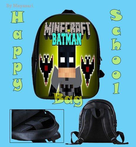 Custom School Bag - Minecraft Batman Bag  This high-quality  school bag is the perfect accessory for school children. Made from high-grade PU leather. It is the perfect way for children to carry all o