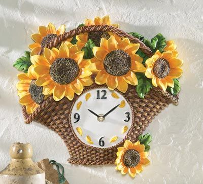 Sunflower Basket Decorative Wall Clock · Sunflower BathroomSunflower  Kitchen DecorSunflower ...