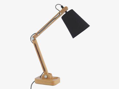 FRANCO BLACKS Beech Adjustable wooden desk lamp - HabitatUK