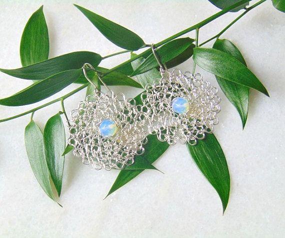 Wire Crochet Earrings Wire Crochet Jewelry Opal by styledonna