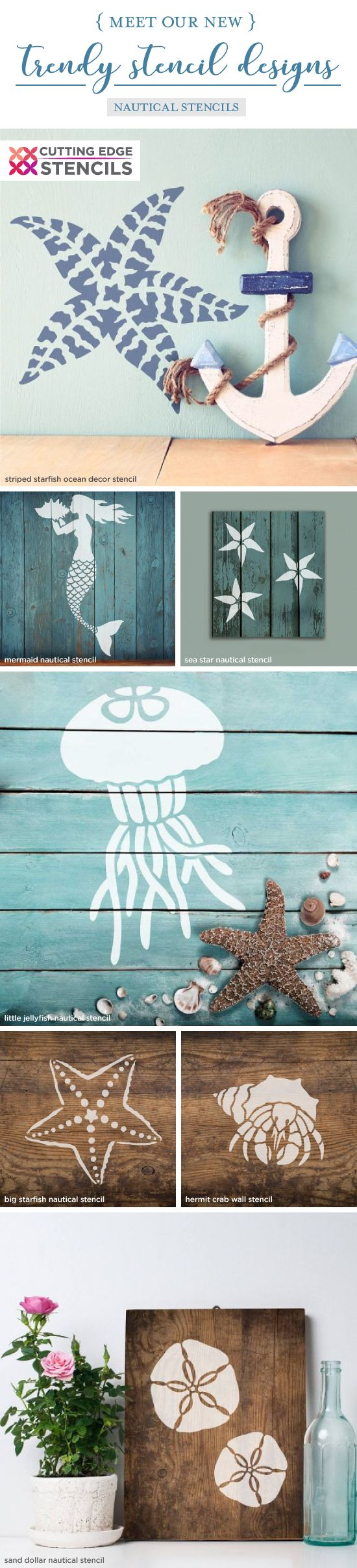 Cutting Edge Stencils shares a New wall stencil collection that includes beach inspired and nautical patterns for walls, furniture, and crafts. http://www.cuttingedgestencils.com/wall-stencils-stencil-designs.html