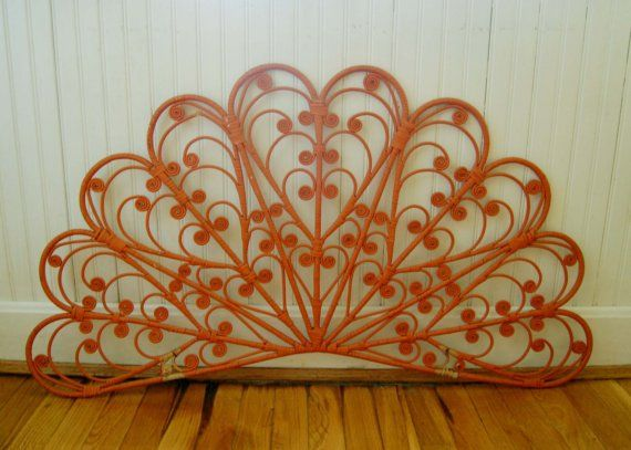 vintage boho orange wicker headboardwall hanging - Wicker Bed Frame