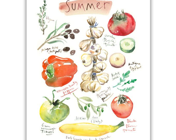 Zomer kunst aan de muur plantaardige print, kleurrijke keuken, Home decor, seizoensgebonden veggie aquarel, als voedsel poster tuin minnaar cadeau, 4 seizoenen