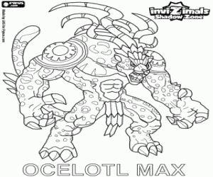 Colorear Ocelotl Max. Invizimals La otra dimensión. Espíritu de los guerreros jaguar de los antiguos mayas