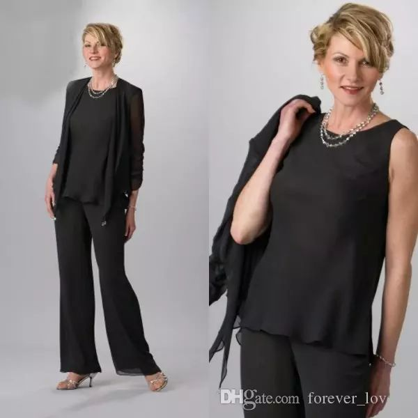 2016 Black Three Pieces Mother Of Bride Pant Suits With Long Jackets Illusion Sleeves Chiffon Mother Of Groom Plus Size Wedding Guest Dress Joan Rivers On Joan Rivers Rivers From Forever_love_u, $105.53| Dhgate.Com