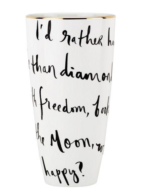 """""""with freedom, books, flowers and the moon who could not be happy?""""— the daisy place vase by kate spade new york (february 2014)"""