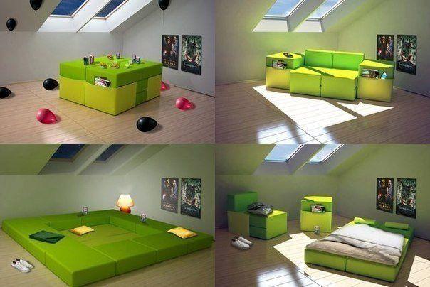 Этот комплект мебели создан для тех, у кого небольшое жилье и кто любит часто делать перестановки