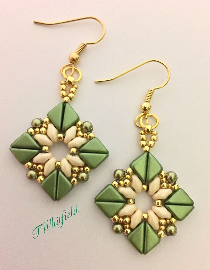 Earrings made with Tango beads and Superduos.  - Design by Beautiful Rain Jewelry