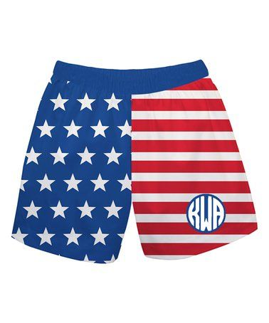 Loving this Blue & Red Stripe Monogram Shorts - Infant, Toddler & Boys on #zulily! #zulilyfinds