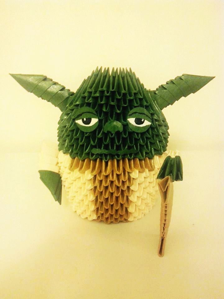 Origami 3D Yoda, made by me :) , Star Wars