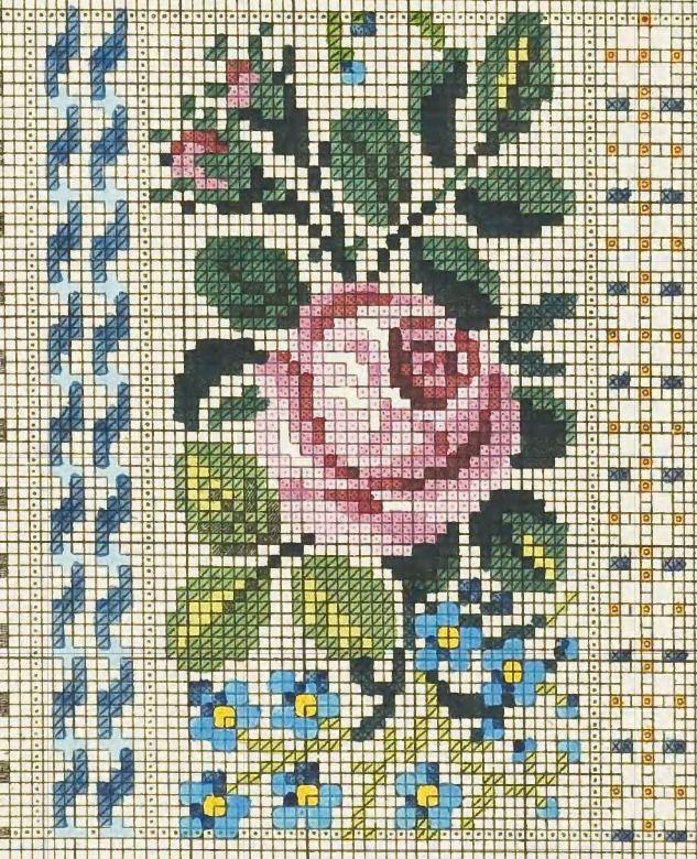 Cross stitch chart. Vintage Rose and Forget-me-nots. #cross_stitch Роза с бутонами 38х61 крестик
