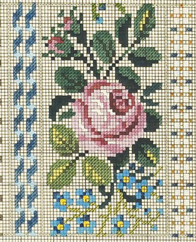 Cross stitch chart. Vintage Rose and Forget-me-nots. #cross_stitch Роза с бутонами 38х61 крестик