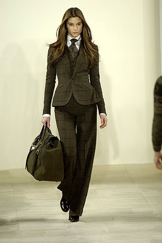 Womens suit and tie model design.