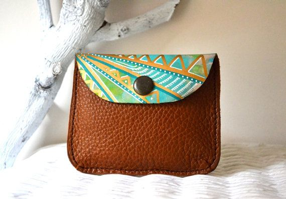 Leather Card Holder Hand Painted Leather Coin by BarbaLeatherWorks