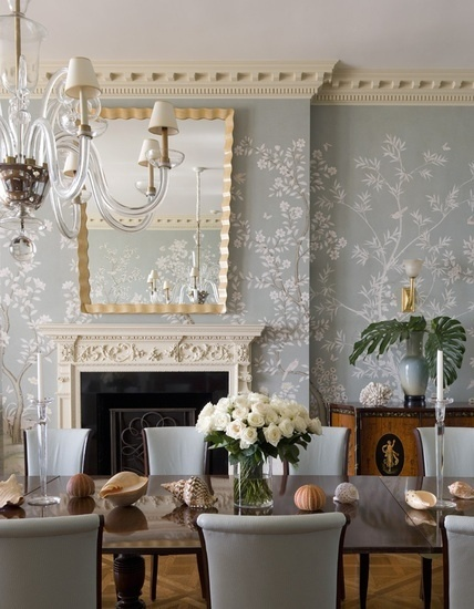 Graceful Gracie Wallpaper, Gilded Mirror And Soft Blue Hues.