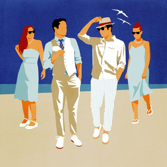 """Illustration by Amy DeVoogd for The Wall Street Journal (AD: Ron Plyman) Wedding on the Beach: fashion reporter Teri Agins explains that there is such a thing as """"beach formal."""""""