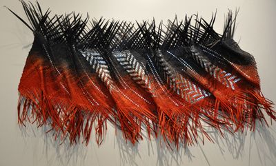 Jess Paraone contemporary Maori weaver Harakeke Sculptural Wall Weave red, black & silver foil inserts 1100×600x190mm