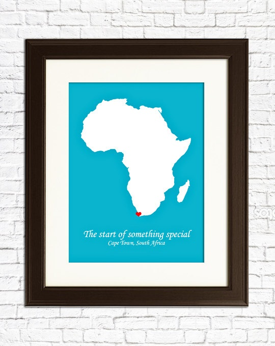 Customized print celebrating adoption with a hand painted heart. By My Place in the World.