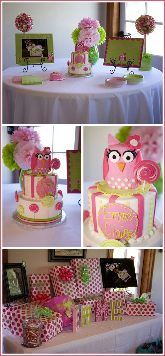 Pink and green owl birthday party...
