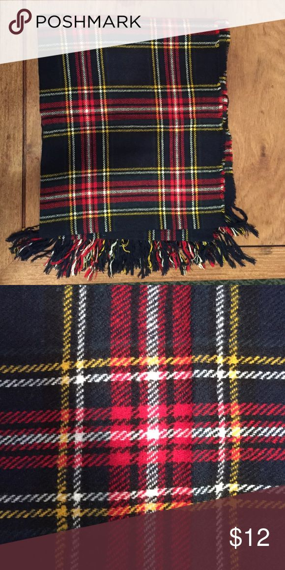Black and red plaid scarf Soft plaid scarf - really nice and full - red and black yellow white green plaid 30 inches wide Accessories Scarves & Wraps