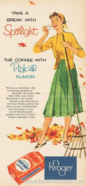 Love the causal sweater set and pleated skirt ensemble the busy gal in this 1950s coffee ad is wearing.
