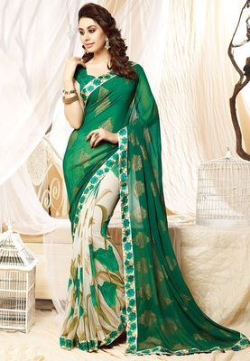 P New Year Spacial Green Wait Less Georgette Saree Sarees on Shimply.com