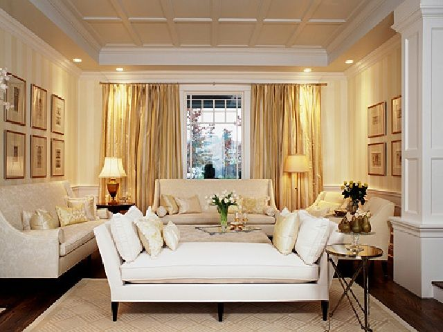 Formal living room design ideas with gold curtain elegant lamps with long sofa and white pilow Gold accessories for living room
