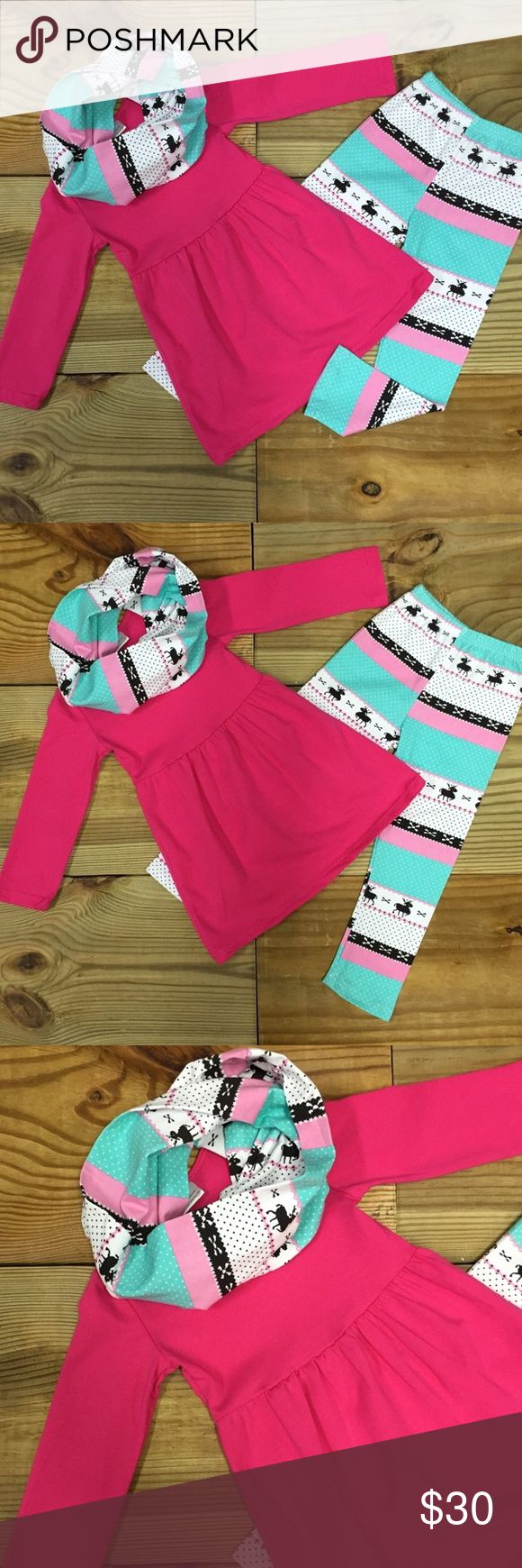 Girls 3-Pc Pink Reindeer Infinity Scarf Outfit Hot pink and blue reindeer 3-pc infinity scarf and matching leggings outfit for girls is made of 97% Cotton & 3% Spandex Super Comfy and Warm for Fall & Winter. School! 12M-6/7 Years. RUNS TRUE TO SIZE-NWT Moxie Girl Matching Sets