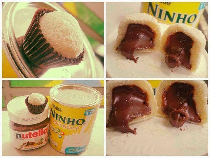 Como fazer Brigadeiro de Leite Ninho com recheio de Nutella