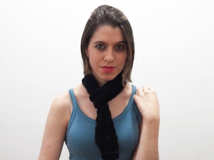 Dica de moda - como fazer um cachecol de crochê - Blog Dona Engenhosa