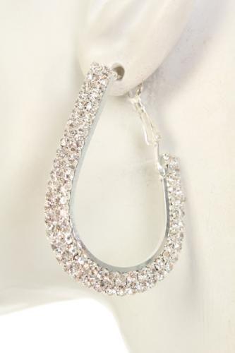 Silver Rhinestone Studded Loop Earrings
