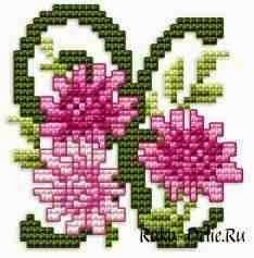 Υπέροχα σχέδια για κεντητά λουλούδια με τα γράμματα του αλφαβήτου Lovely cross stitch flowers with the letters of the alphabet ...