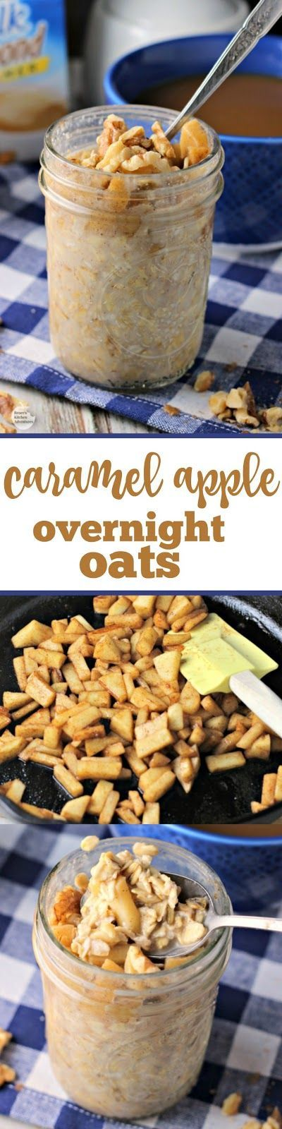 Caramel Apple Overnight Oats   by Renee's Kitchen Adventures - easy recipe for caramel apple flavored no bake oatmeal perfect for breakfast on-the-go! #SilkSiptoSpoon ad #RKArecipes