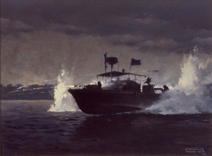 Fire Fight. Painting oil on masonite by R. G. Smith. 1968.
