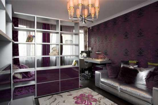 Luxurious Purple Teen Bedroom With Silver Loft