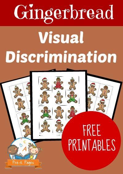 Gingerbread Visual Discrimination Activity for Preschool and Kindergarten. Help your kids develop visual discrimination skills with this fun, hands-on printable activity!