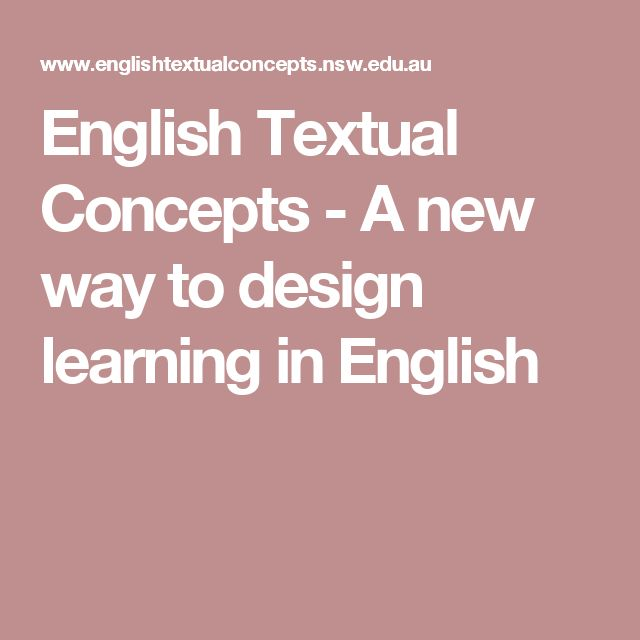 English Textual Concepts - A new way to design learning in English