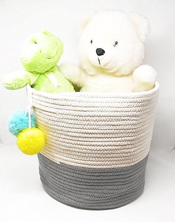 Amazoncom Ecohip Large 15 X 13 Cotton Rope Basket Decorative