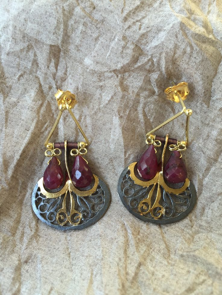 Ottoman Axe model Earrings with root-ruby stones