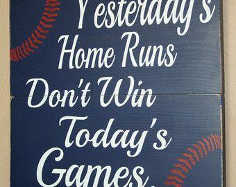 Baseball Decor, Baseball Sign, Baseball Quote, Wooden Baseball Sign, Babe Ruth Quote, Baseball Wall Decor - Yesterday's Home Runs - 18x18