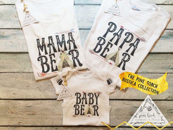 MAMA, PAPA, BABY Bear Family shirts / Baby Bear Onesie®/creeper/one piece / Papa Bear / Mama Bear / Father's Day / Custom Name Onesie® by ThePineTorch on Etsy https://www.etsy.com/listing/236557057/mama-papa-baby-bear-family-shirts-baby